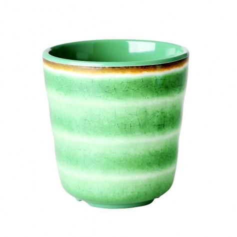 Bicchiere in melamina verde con fantasia vortice