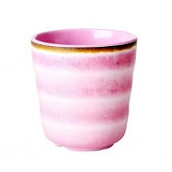 Bicchiere in melamina con fantasia vortice rosa