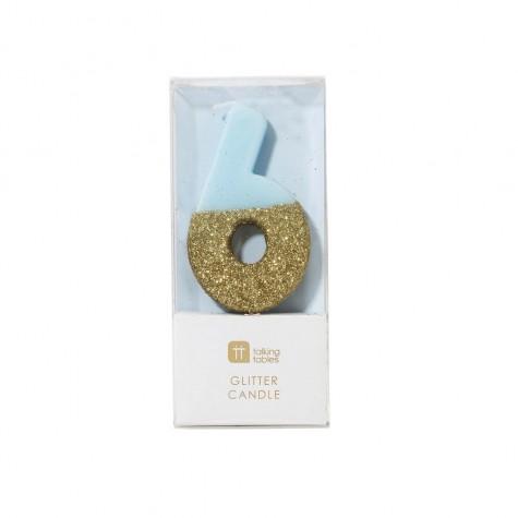Candelina di compleanno glitterata oro/azzurra a forma di 6