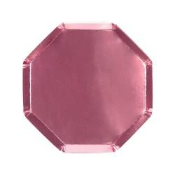 Piattini di carta color rosa metallizzato