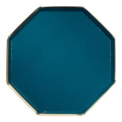 Piatti di carta blu con bordo dorato