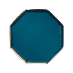 Piattini di carta blu con bordo dorato