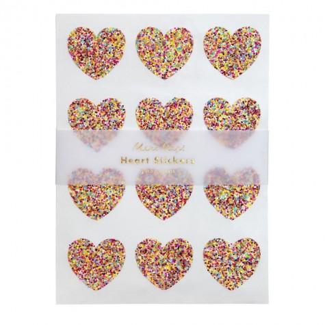 Stickers a forma di cuore con glitters multicolor