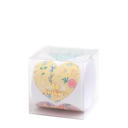 Stickers a forma di cuore con fantasia floreale
