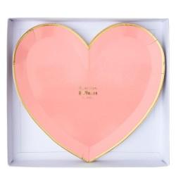Piatti di carta a forma di cuore pastello