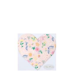 Tovagliolini di carta a forma di cuore con fantasia floreale