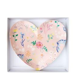 Piattini di carta a forma di cuore con fantasia floreale