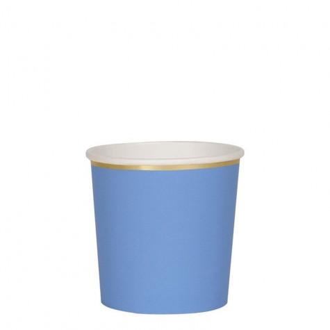 Bicchieri di carta blu con bordo dorato