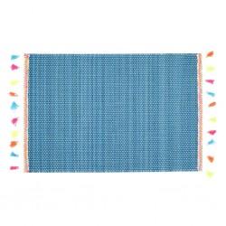 Tovaglietta azzurra con nappe colorate