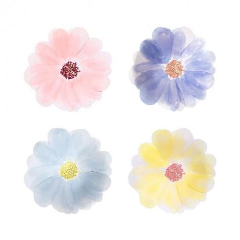 Piattini di carta a forma di fiori colorati