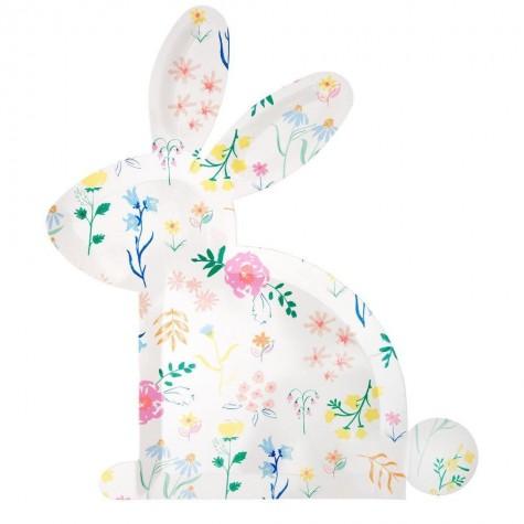 Piatti di carta a forma di coniglietto pastello