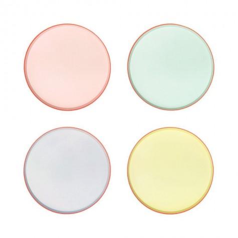 Piatti di carta color pastello con bordo neon