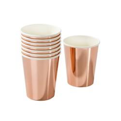 Bicchieri di carta rosa dorato