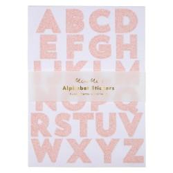 Stickers Alfabeto rosa glitter