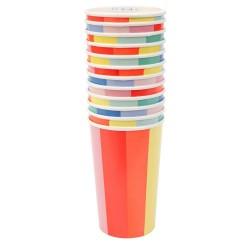 Bicchieroni di carta fantasia raggi colorati