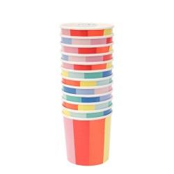 Bicchieri di carta fantasia raggi colorati