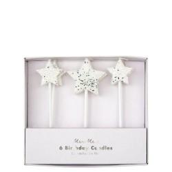 Candeline di compleanno Silver Glitter Star
