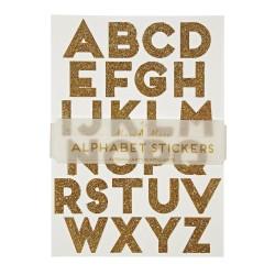 Stickers Alfabeto con glitter dorato