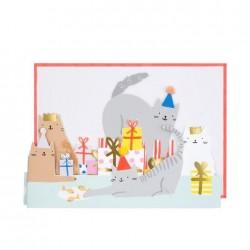 Biglietto Buon Compleanno Cat Party