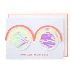 Biglietto di auguri con occhiali arcobaleno