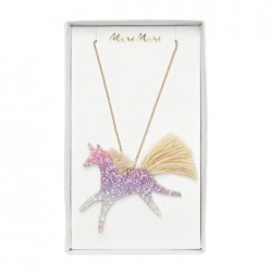 Collanina di perle con unicorno glitter