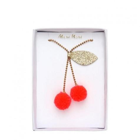 Collanina di perle con pompon ciliegie