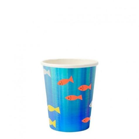 Bicchieri di carta blu con fantasia pesciolini