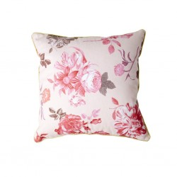 Cuscino bianco con fantasia rose