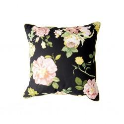 Cuscino nero con fantasia rose