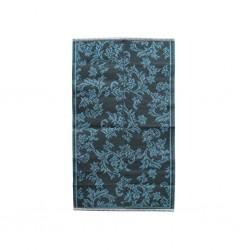 Tappeto grigio-blu con fantasia floreale