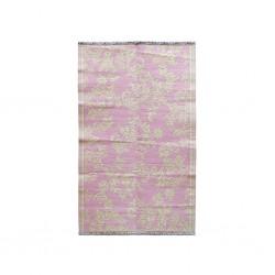 Tappeto rosa-crema con fantasia floreale