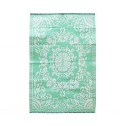 Tappeto rettangolare crema-verde acqua con motivo floreale