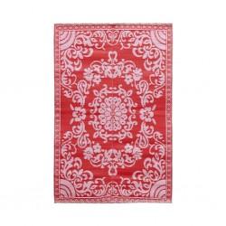 Tappeto rettangolare rosa-rosso con fantasia floreale