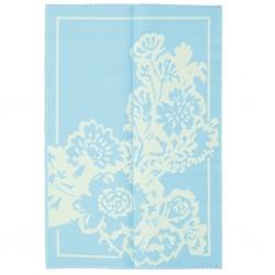 Tappeto rettangolo azzurro-crema con fantasia floreale