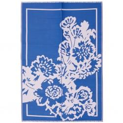 Tappeto rettangolare rosa e blu con fantasia floreale