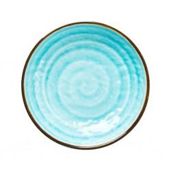 Piatto fondo azzurro con fantasia vortice