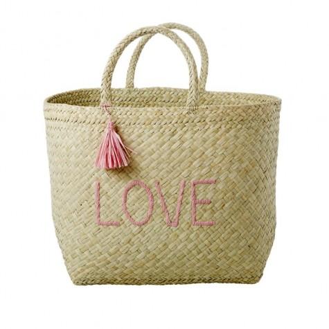 Shopping bag da mare LOVE rosa