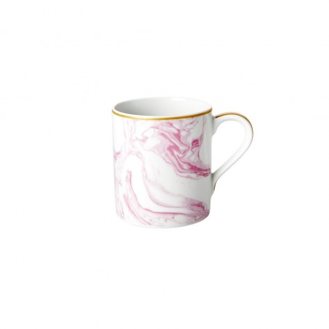 Tazza mug in porcellana fantasia rosa effetto marmo