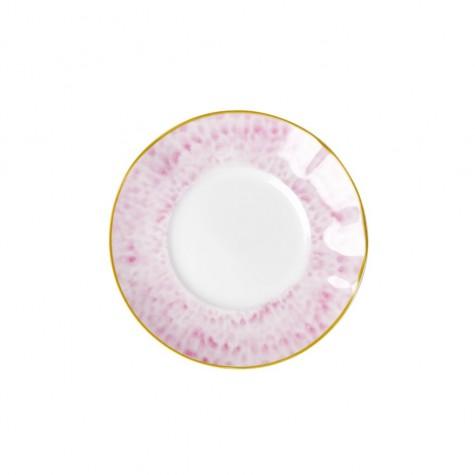 Piatto da dessert in porcellana bianca e rosa
