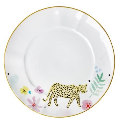 Piatto piano in porcellana fantasia leopardo