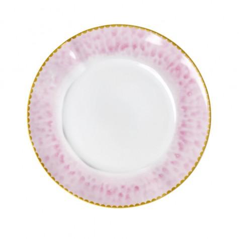 Piatto da pranzo in porcellana con bordo rosa effetto smaltato