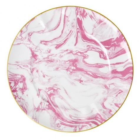Piatto piano in porcellana fantasia rosa effetto marmo