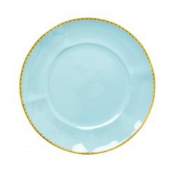 Piatto da pranzo in porcellana color menta
