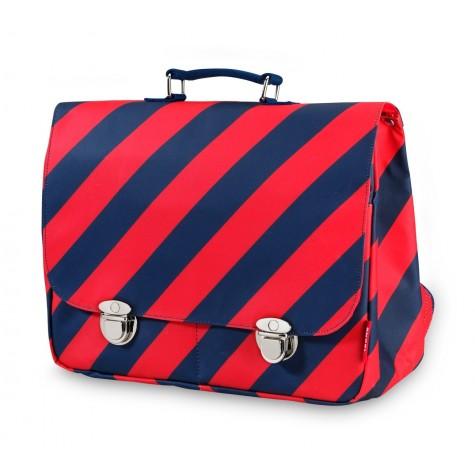 Cartella a strisce rosso-blu navy