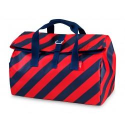 Borsone flip da viaggio a strisce rosso-blu navy