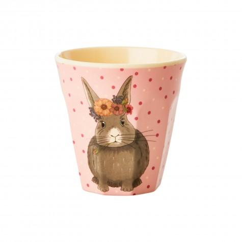 Bicchiere bimba con fantasia pois e coniglio