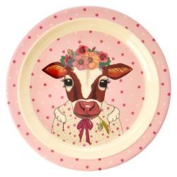 Piatto fondo bimba con mucca disegnata