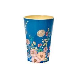 Bicchierone latte in melamina fantasia collage di fiori
