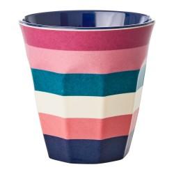 Bicchiere in melamina fantasia a righe blu e rosa