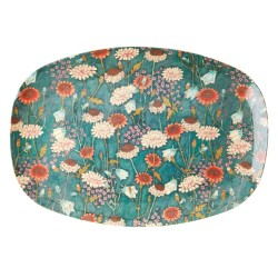 Piatto ovale fantasia fiori autunnali